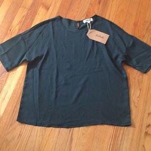 Crushed polyester short sleeve oversized blouse